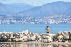 View of the Albanian mountains on the horizon.