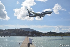 Landing at Corfu airport. The concrete causeway is a perfect place for plane spotting.