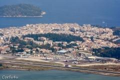 Corfu airport from the village of Agioi Deka.