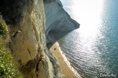 Exceptional view of the cliffs. Clear water and soft sand.